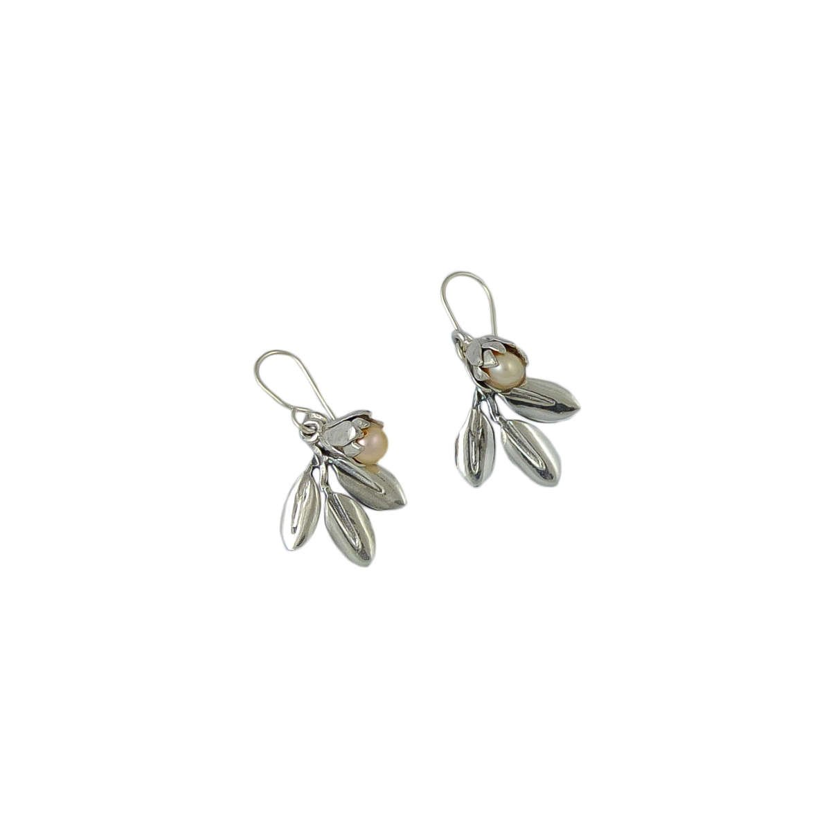 Silver Pearl and Leaf earrings by martyn milligan