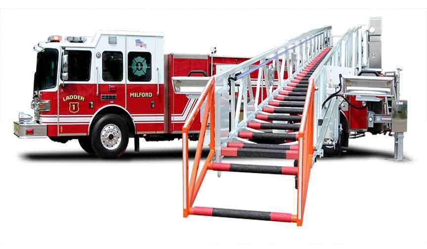 111 foot steel ladder fire truck