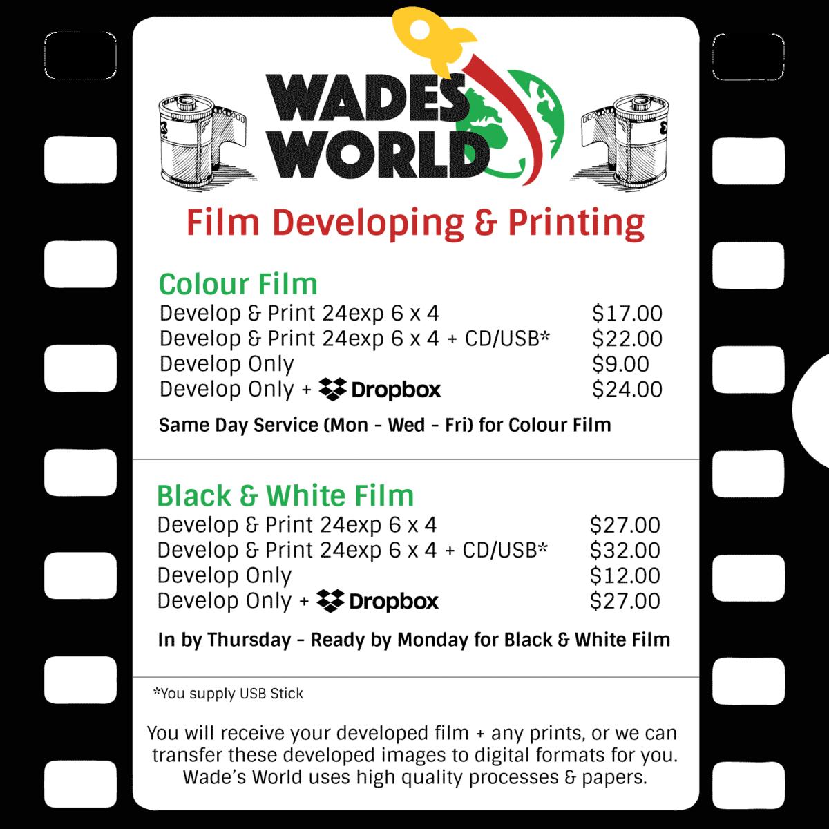 Film Developing — Wade's World Photographics | Australia