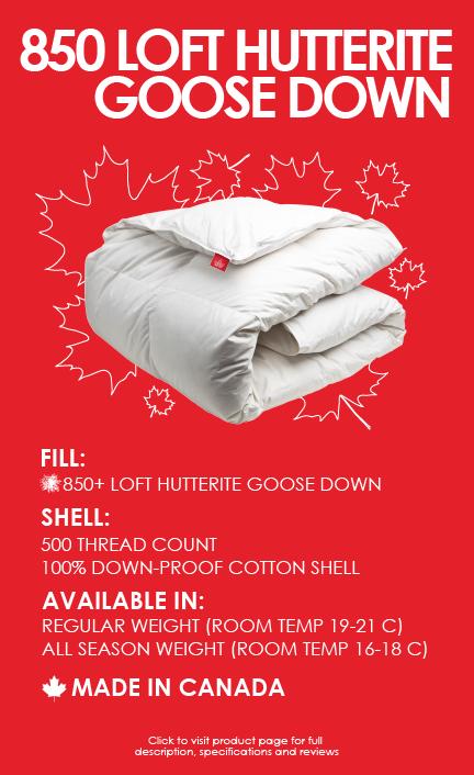 850 loft hutterite goose down duvet 500 thread count cotton made in canada
