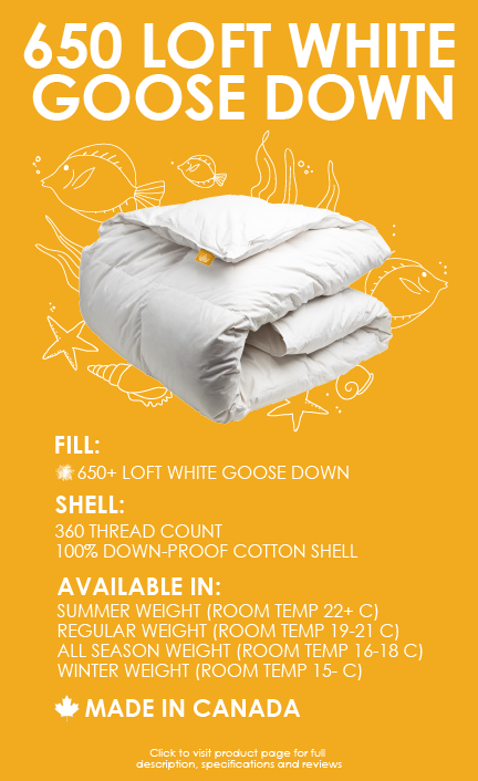650 loft white goose down duvet 360 thread count cotton made in canada