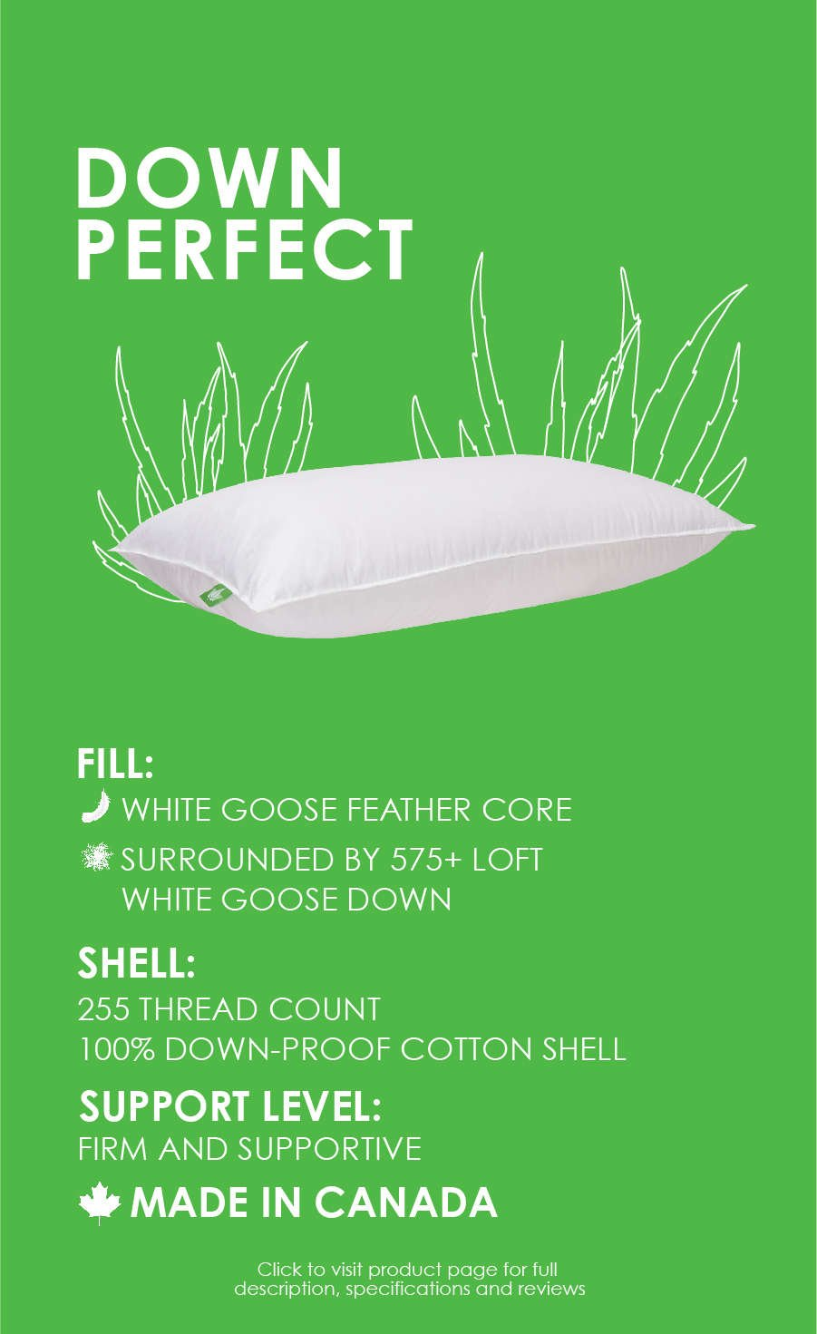 white goose down and feather pillow