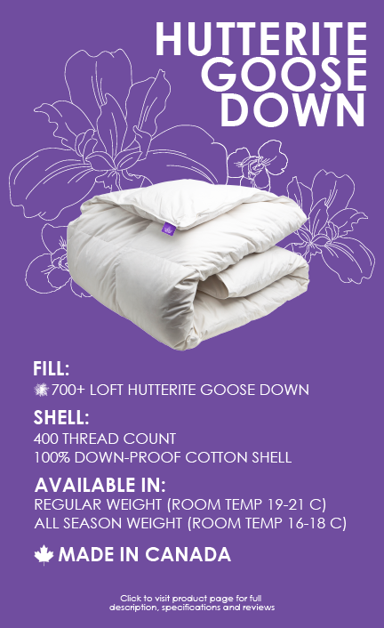 hutterite goose down duvet 400 thread count 700 loft made in canada