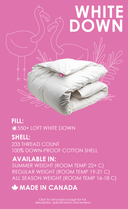 white duck down duvet 550 loft 233 thread count made in canada