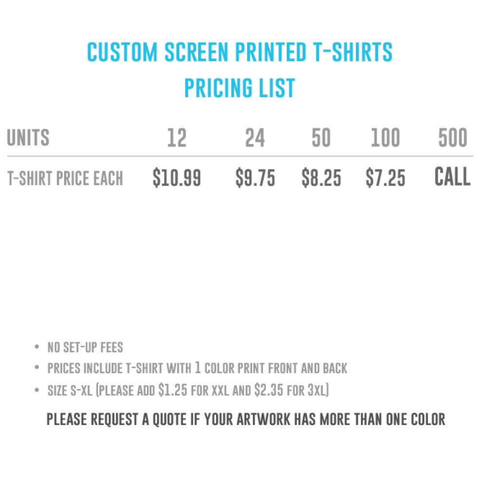 Custom T Shirts Price List Cotswold Hire