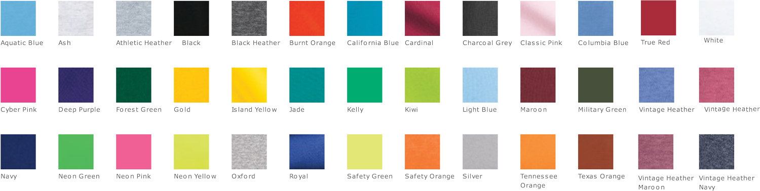 gildan heavy cotton t-shirt colors