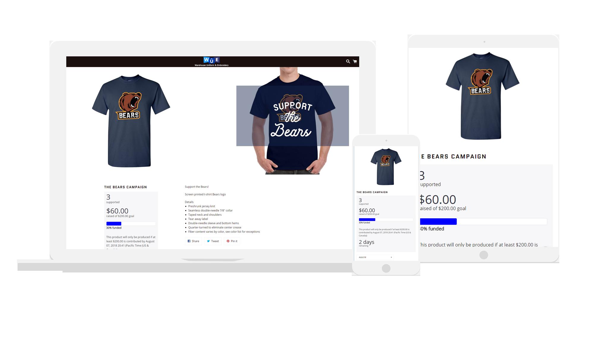 how a t shirt fundraiser looks like computer screen