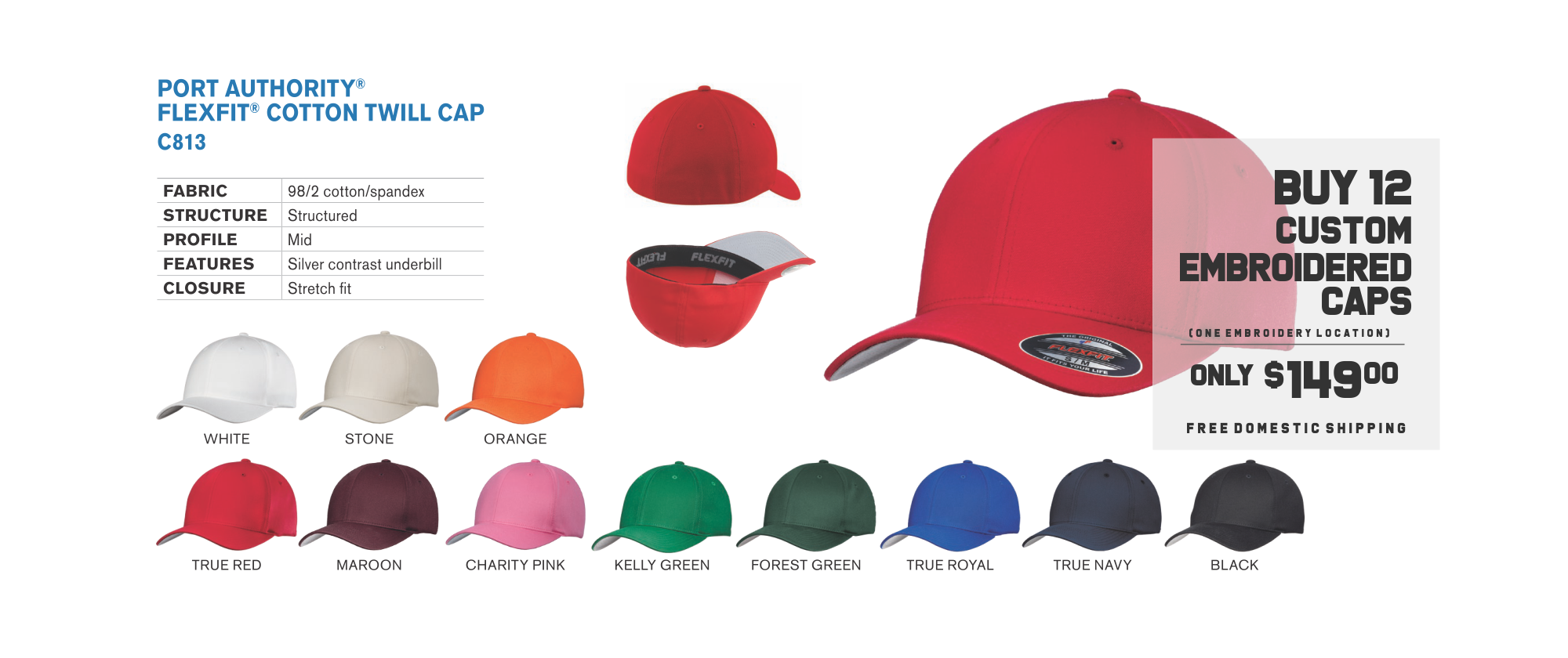 weekly specials custom embroidered flexfit caps