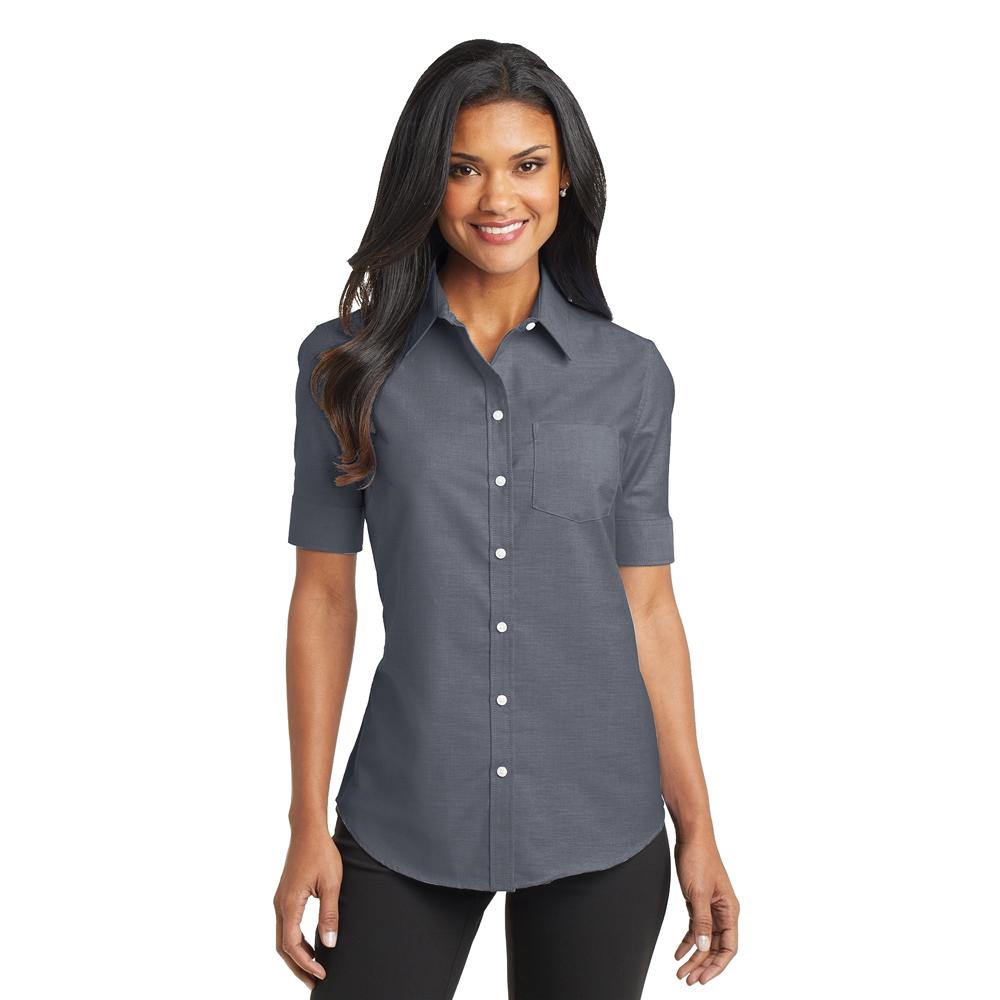 L659 Short sleeve women's oxford shirt