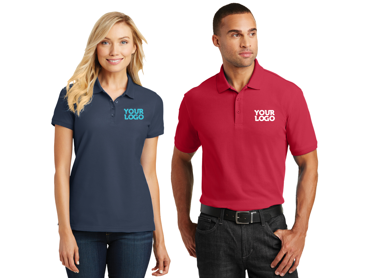 pique core polo shirt red and navy
