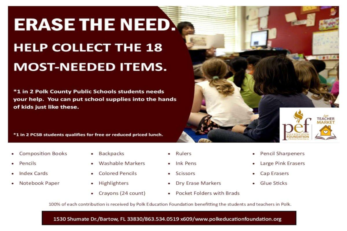 Erase The Need - Donate Direct - Polk Education Foundation  Free Teacher Market Florida