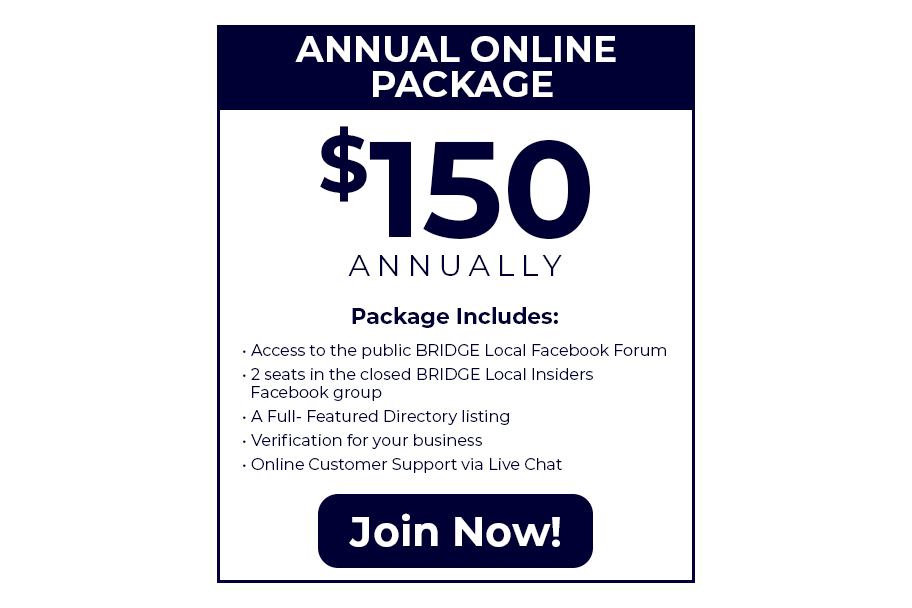 BEIDGE Local Annual Online Package. $150.00 Annually