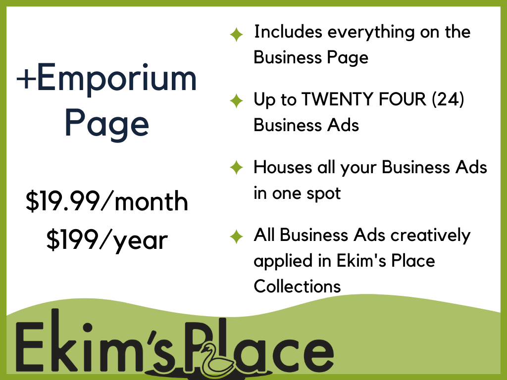 Business Page +Emporium - Up to 24 Business Ads Collected on One Emporium Page