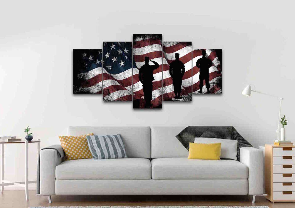 47fd73b8d88e American Flag and US Army Marines Soldiers Wall Art Canvas Painting ...