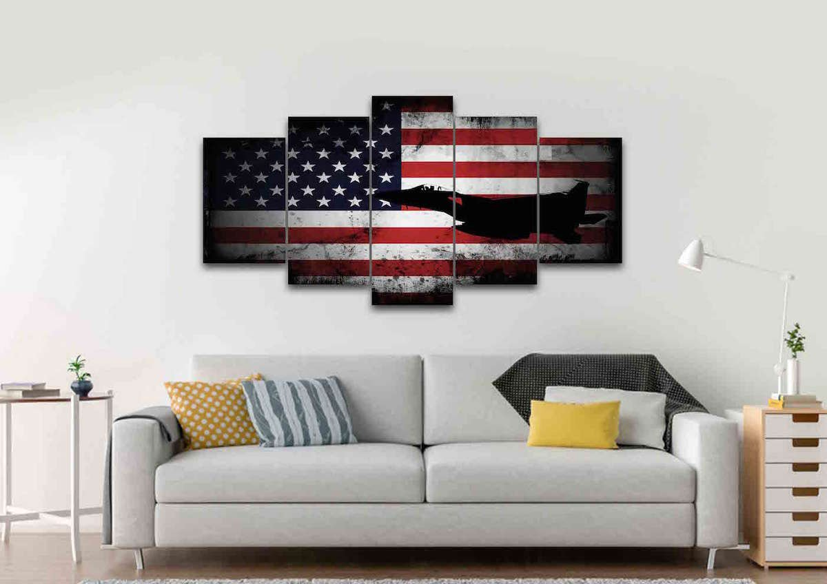 American Flag with US Navy Airforce Jet Airplane Wall Art Canvas ...