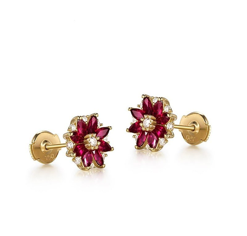 18kt Yellow Gold Marquise Cut Ruby Flower Studs, SILVER YULAN