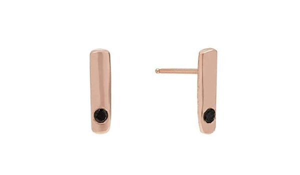 Rose Gold Bar Stud Earrings With Black Diamonds - Deborah Blyth Jewellery