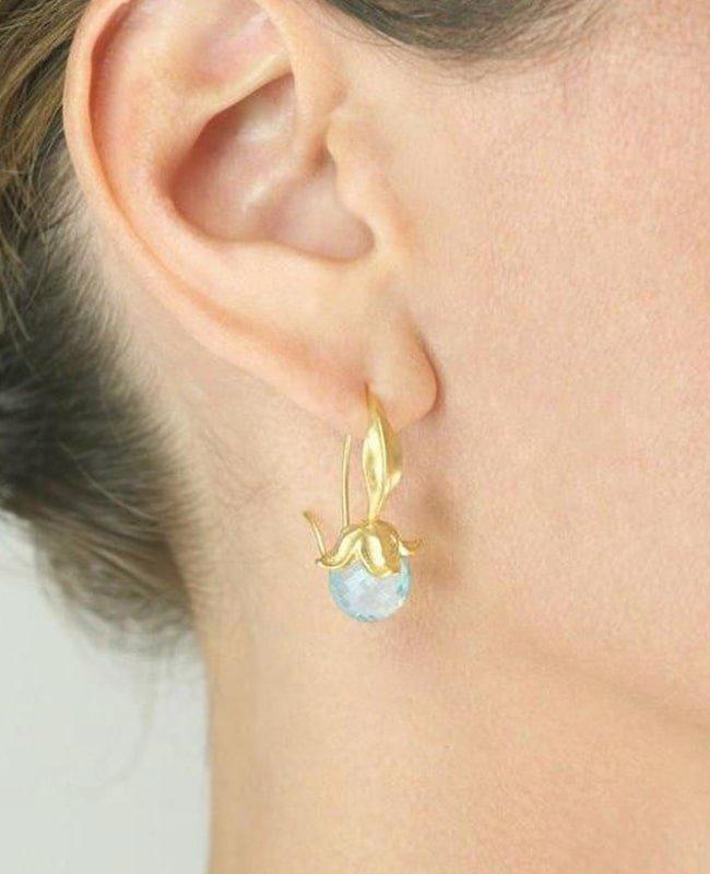 Blue Topaz Flower Earrings, Militza Ortiz