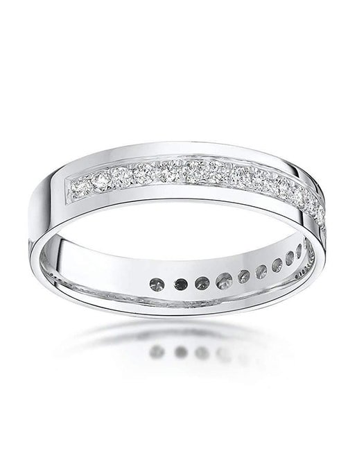 9kt White Gold Round Diamond Eternity Wedding Ring, Star Wedding Rings