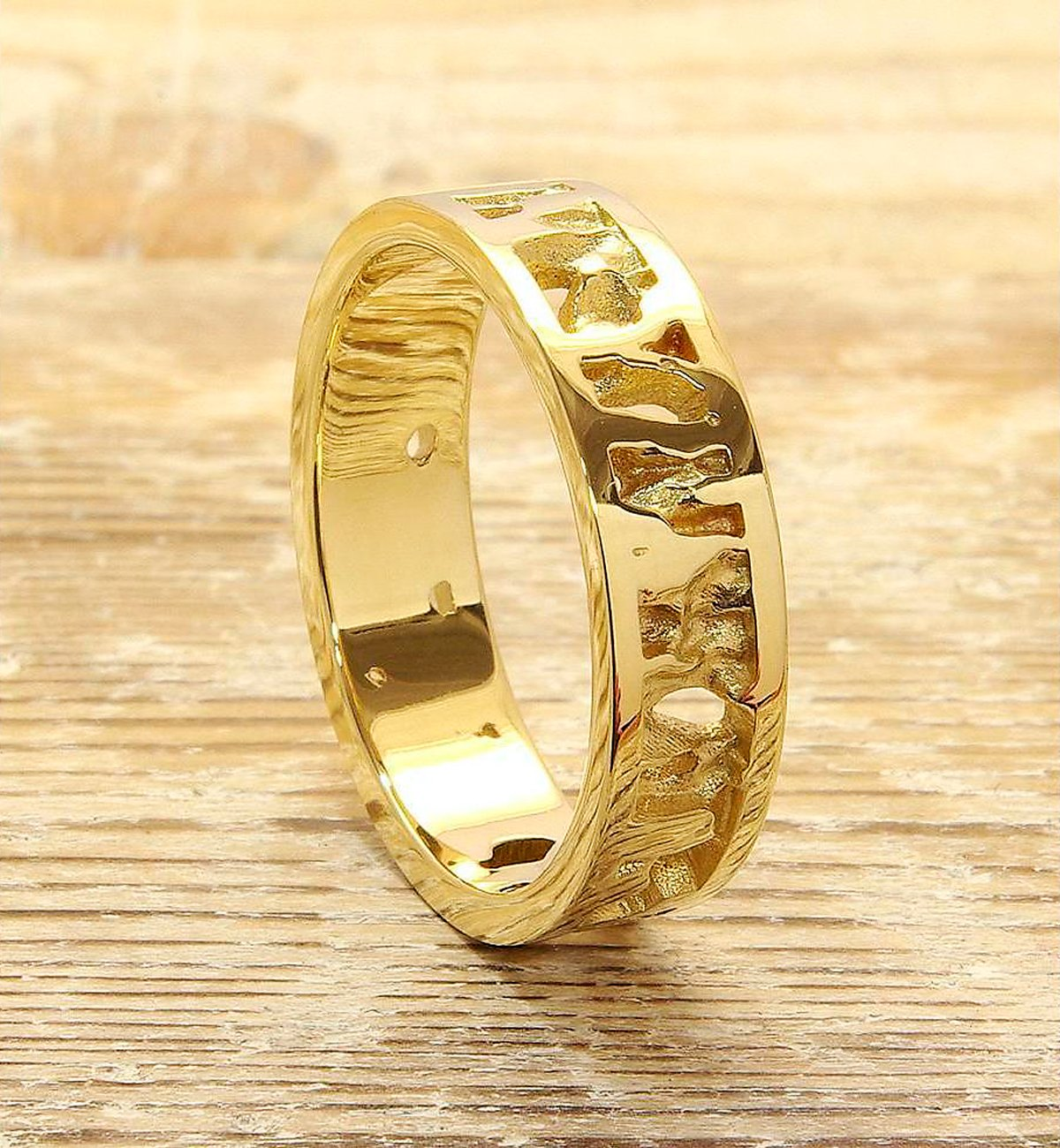 Cornish Seawater Textured 9kt Yellow Gold Nautical Handmade Wedding Ring