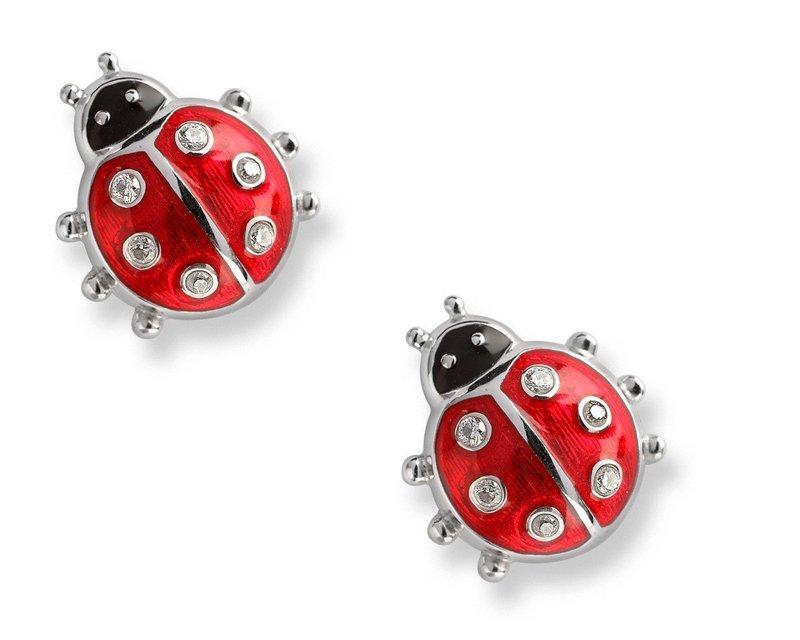 Silver Ladybug Stud Earrings - Nicole Barr