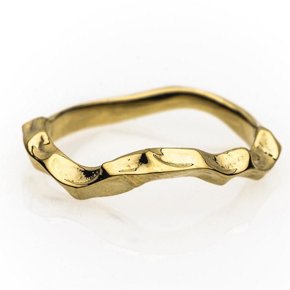 18kt Fairtrade Yellow Gold Shaped Briar Rose Wedding Ring, Rachel Helen Designs