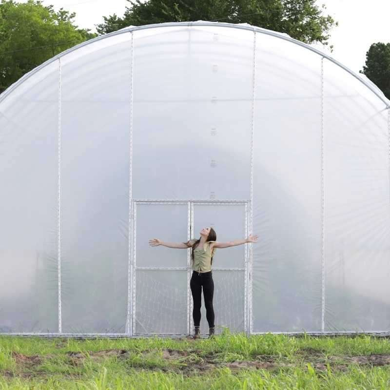 Greenhouse kit in a large field