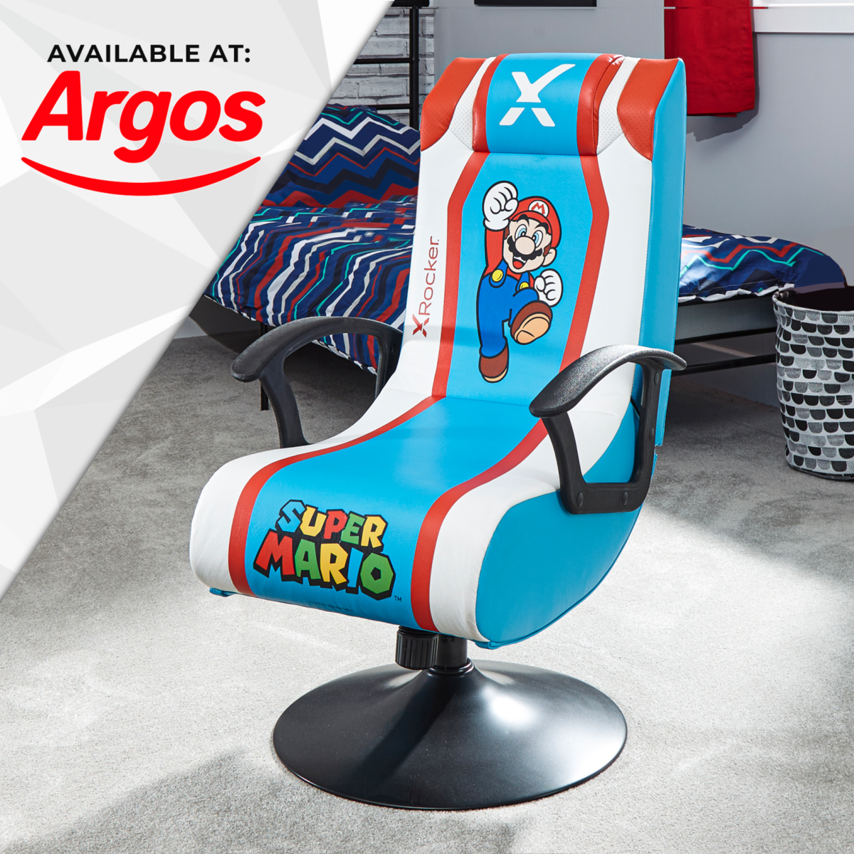 Nintendo Super Mario X Rocker Audio Pedestal Gaming Chair - Mario Edition in Light Blue available at Argos
