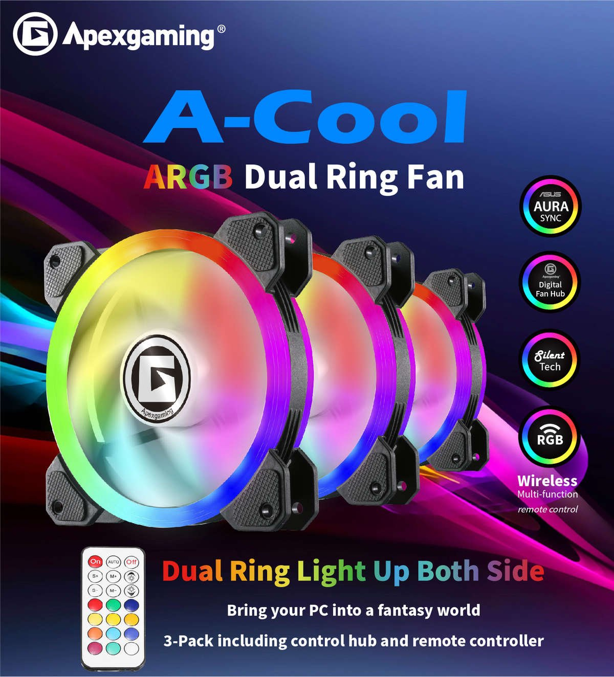Apexgaming A-Cool ARGB Dual Ring Fan ( 3-pack including RGB controller)