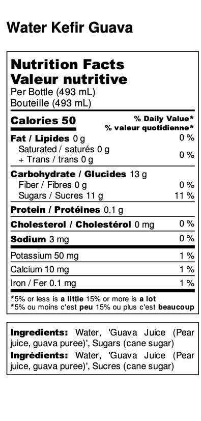 Guava Water Kefir Nutrition Facts