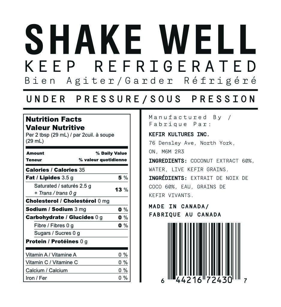 KEFIRKULT Coconut Kefir Yogurt Nutrition Facts