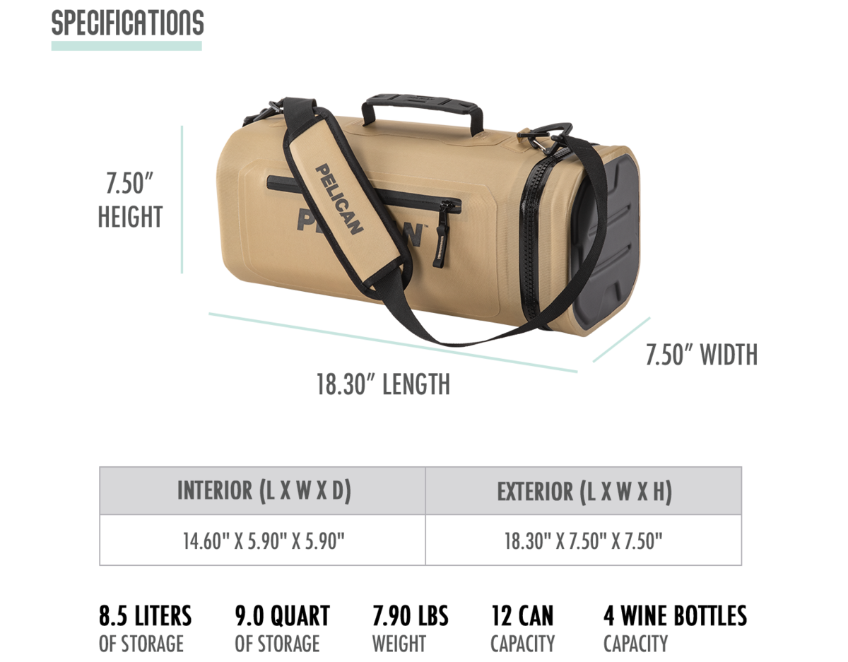 The Pelican Dayventure Sling Cooler has 8.5 liters of storage or 9.0 quarts of storage. Weighs 7.90 lbs. Holds 12 cans with ice or 4 wine bottles.