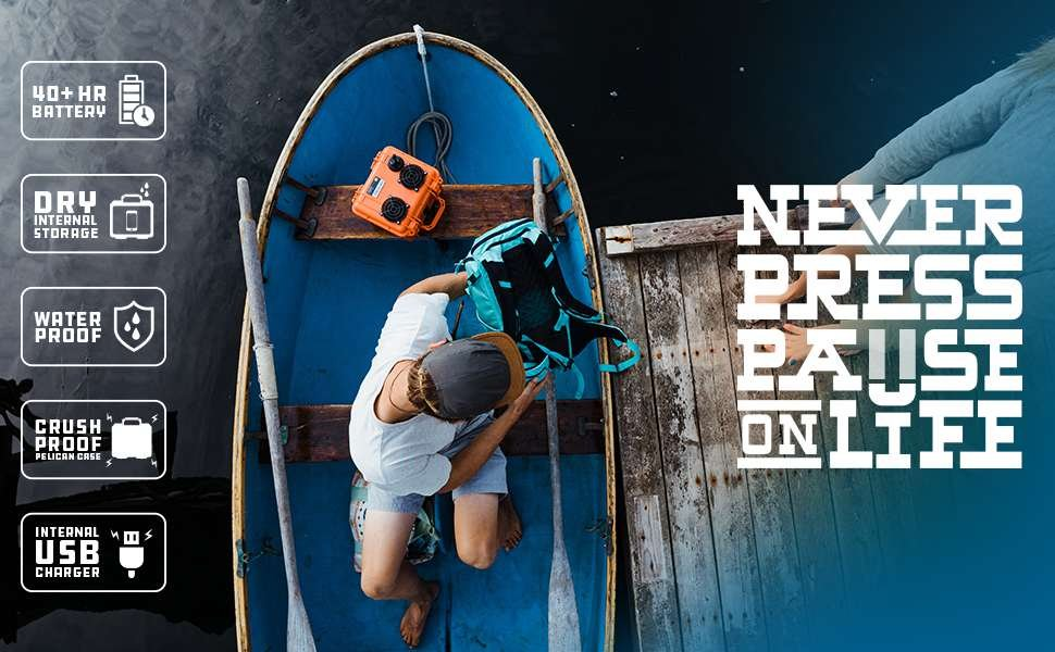 """A person in a blue rowboat with their gear, including an orange DemerBox DB2, the ultimate Bluetooth party speaker. Superimposed on the image is the text """"Never press pause on life"""" and five bullet points about the DB2: -  40+ hour battery life; - dry internal storage; - waterproof; - crushproof Pelican case; - internal USB charger."""