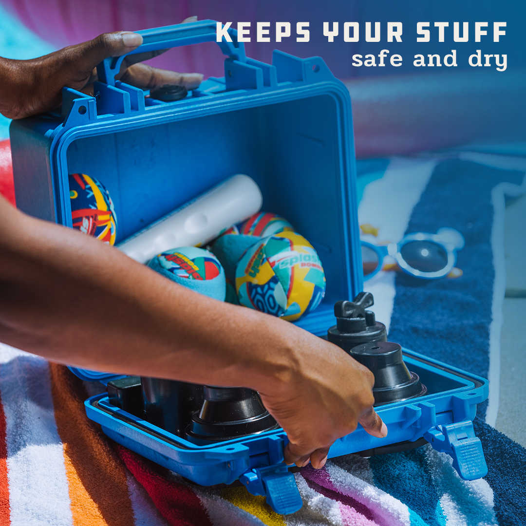 """A person is opening a blue DemerBox DB2, which has sunscreen and other gear inside it. Superimposed on the image is the text """"Keeps your stuff safe and dry."""""""