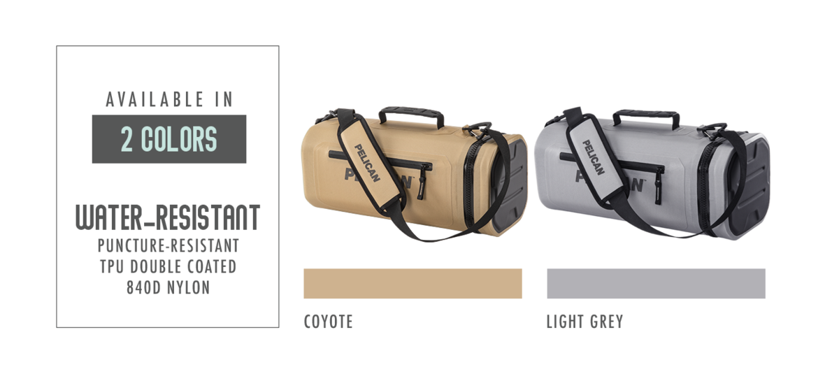 The Pelican Dayventure Sling Cooler is available in Coyote Tan and Light Grey and is made of 840D TPU puncture-resistant material.