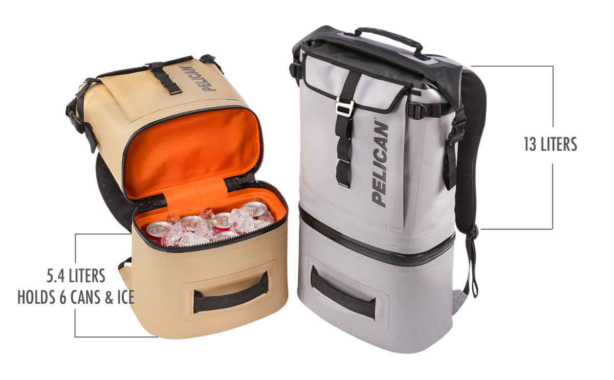 The bottom is a dedicated cooler compartment which features a leak resistant zipper, keeps your ice all day long (performs best when used with a Pelican Ice Pack) and perfectly fits a 6 pack of cans. With a wide roll-top opening, and light insulation, the top section can be used as an additional cooler compartment, or for separated dry storage.