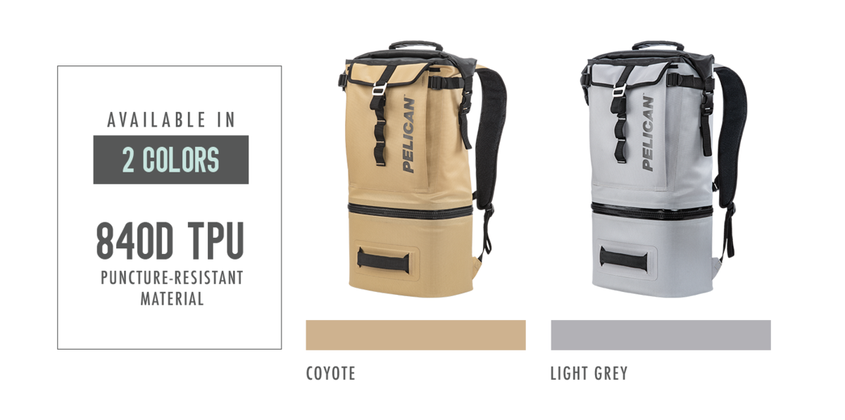 The Pelican Dayventure Backpack cooler is a available in Coyote Tan and light Grey.  The outer shell is made with 840 TPU puncture-resistant material.