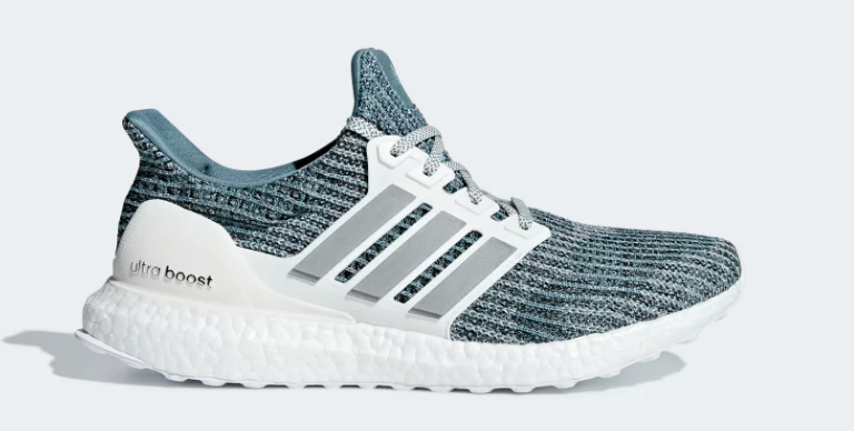 Side of cloud white silver met adidas ultraboost