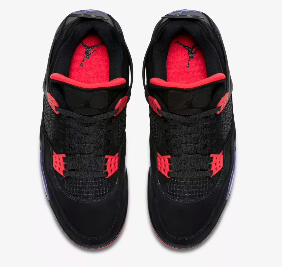 top view air jordan 4 raptor