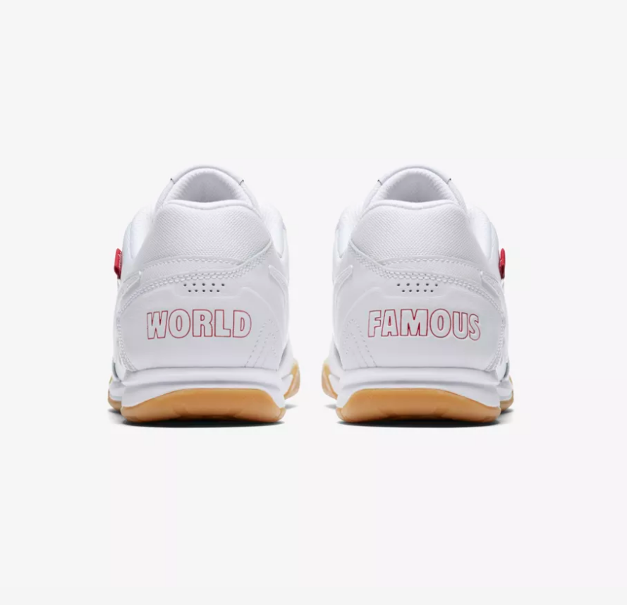 HEELS OF NIKE X SUPREME SB GATO QS 'WHITE / GYM RED'