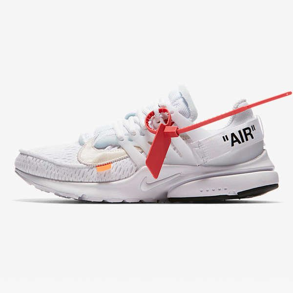 side of NIKE AIR PRESTO X OFF WHITE 'THE TEN' WHITE CONE