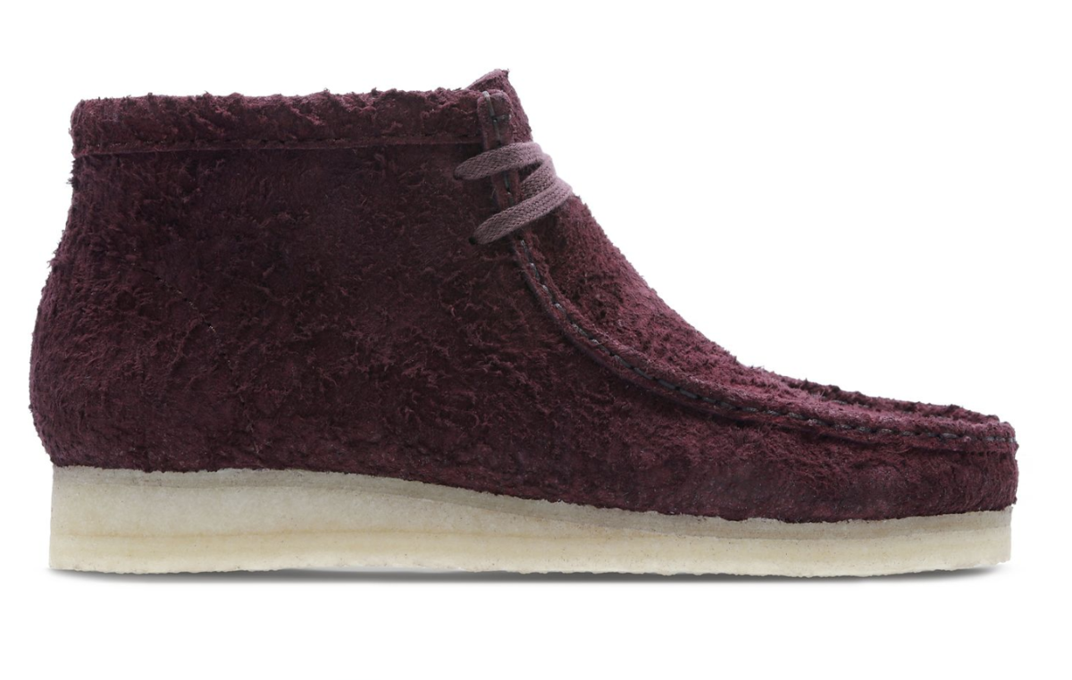 clarks wallabee boot hairy suede burgundy