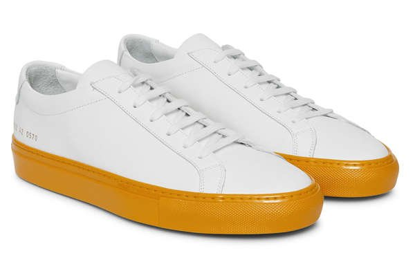 side of common projects achilles shiny sole