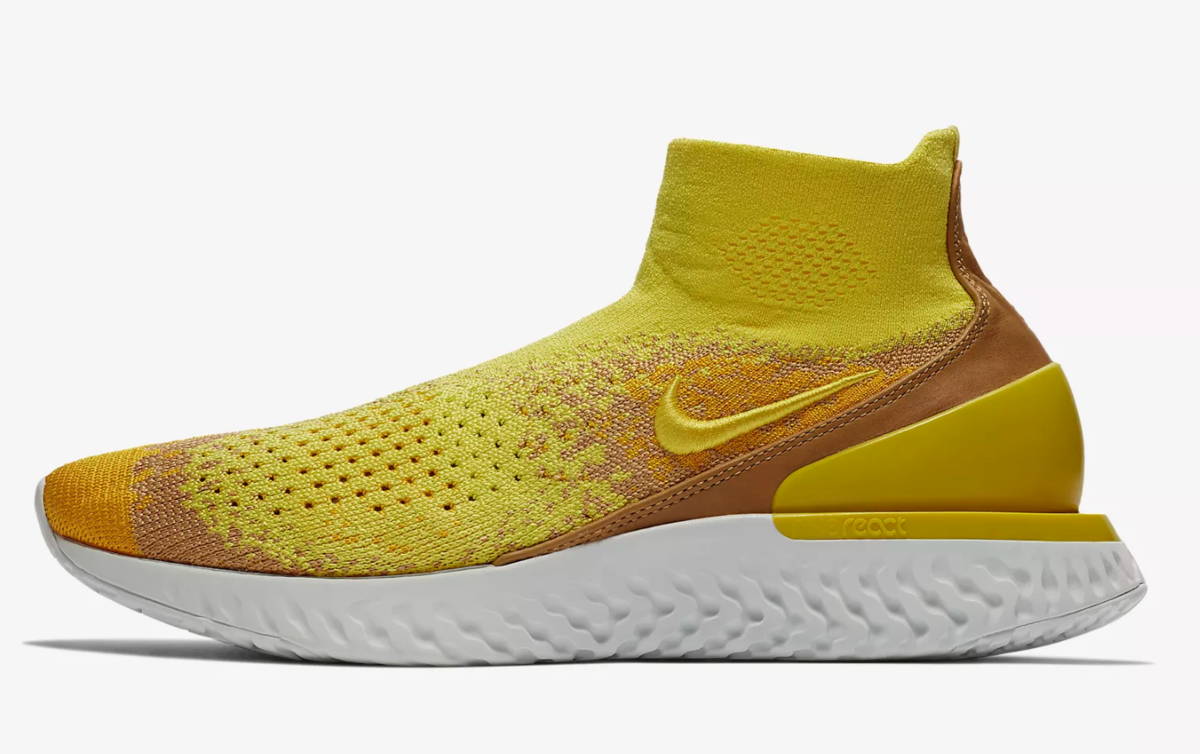 side view of sonic yellow nike rise react flyknit