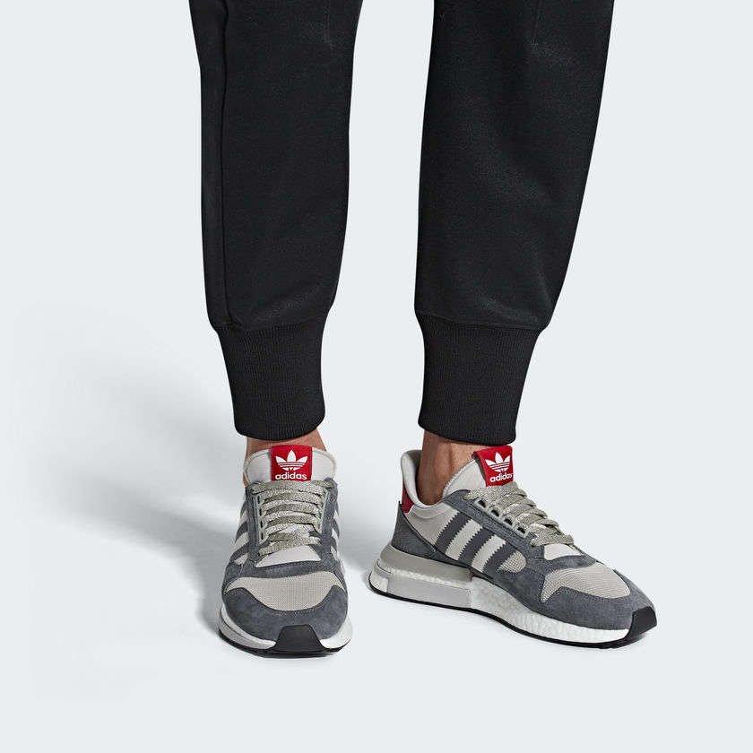 adidas zx 500 rm grey four / scarlet
