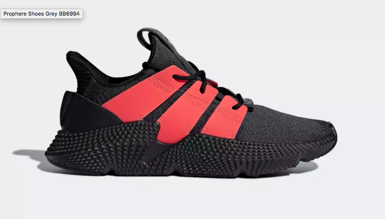 SIDE VIEW ADIDAS ORIGINALS PROPHERE CARBON SOLAR RED
