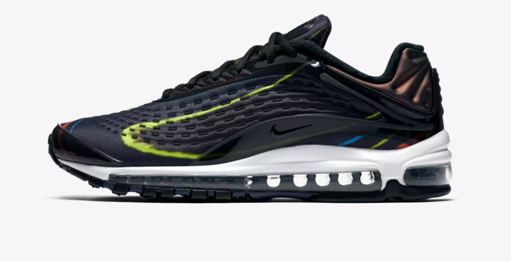 SIDE VIEW NIKE AIR MAX DELUXE 'BLACK / MULTICOLOUR'