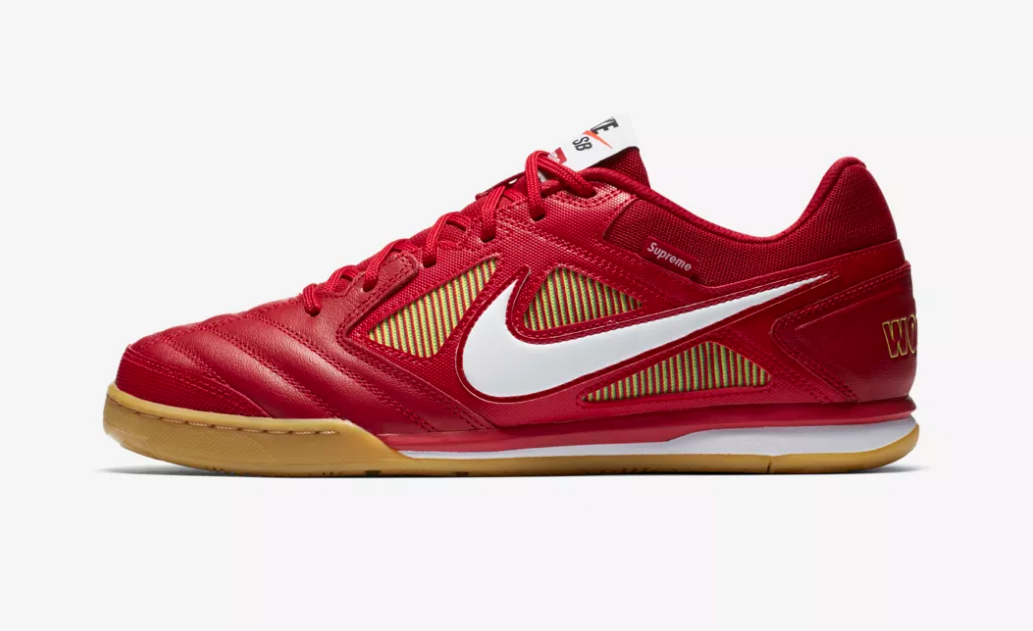 SIDE VIEW NIKE X SUPREME SB GATO QS 'GYM RED'