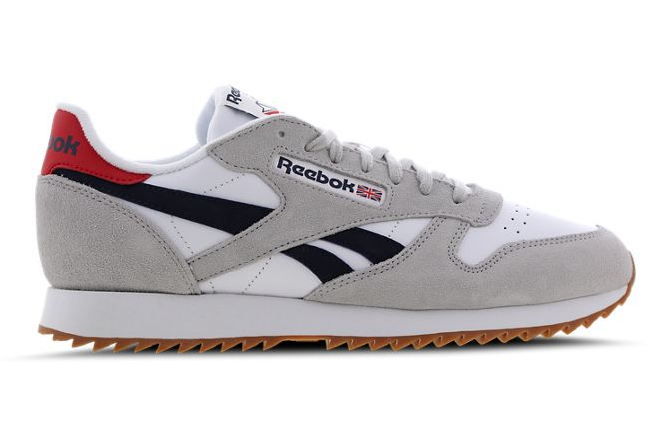 side view of grey reebok classic