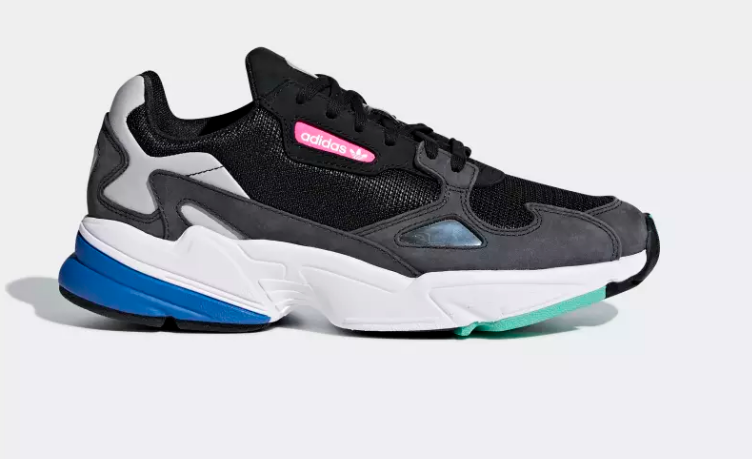 black adidas falcon side view